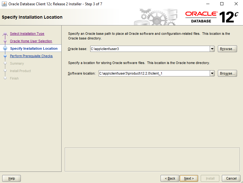 Step by Step Installation of the Oracle 12c Client for