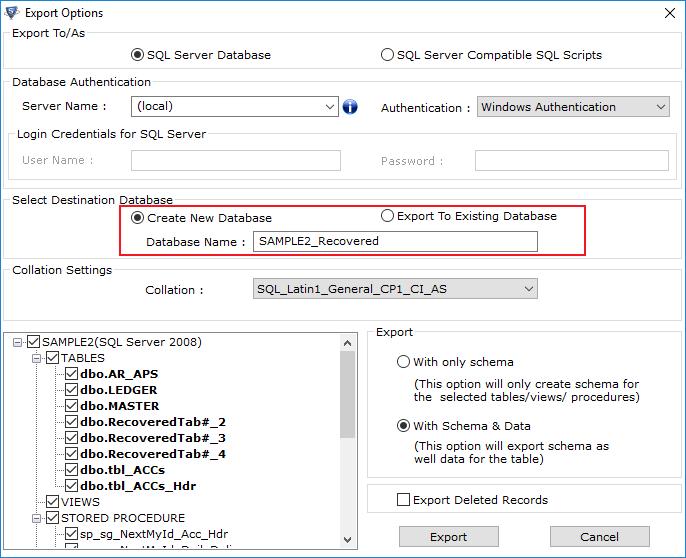 Restore Database to New Database